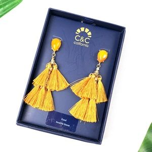 NEW C&C California Dyed Howlite Tassel Earrings